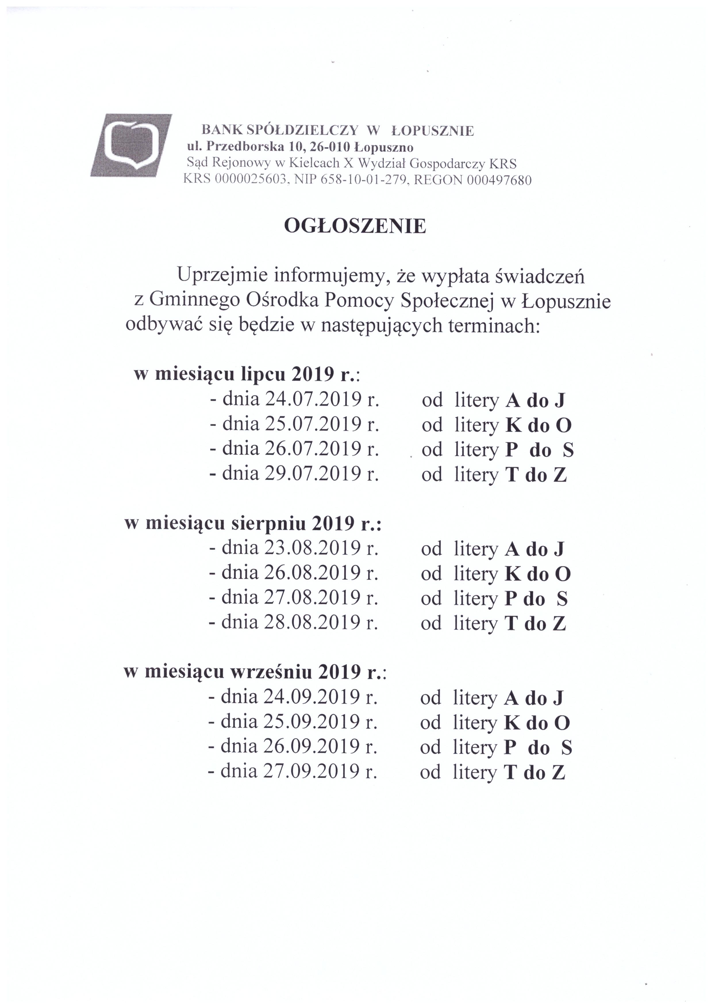 TERMINY WYPŁAT ZASIŁKÓW, Gminny Ośrodek Pomocy Społecznej w Łopusznie