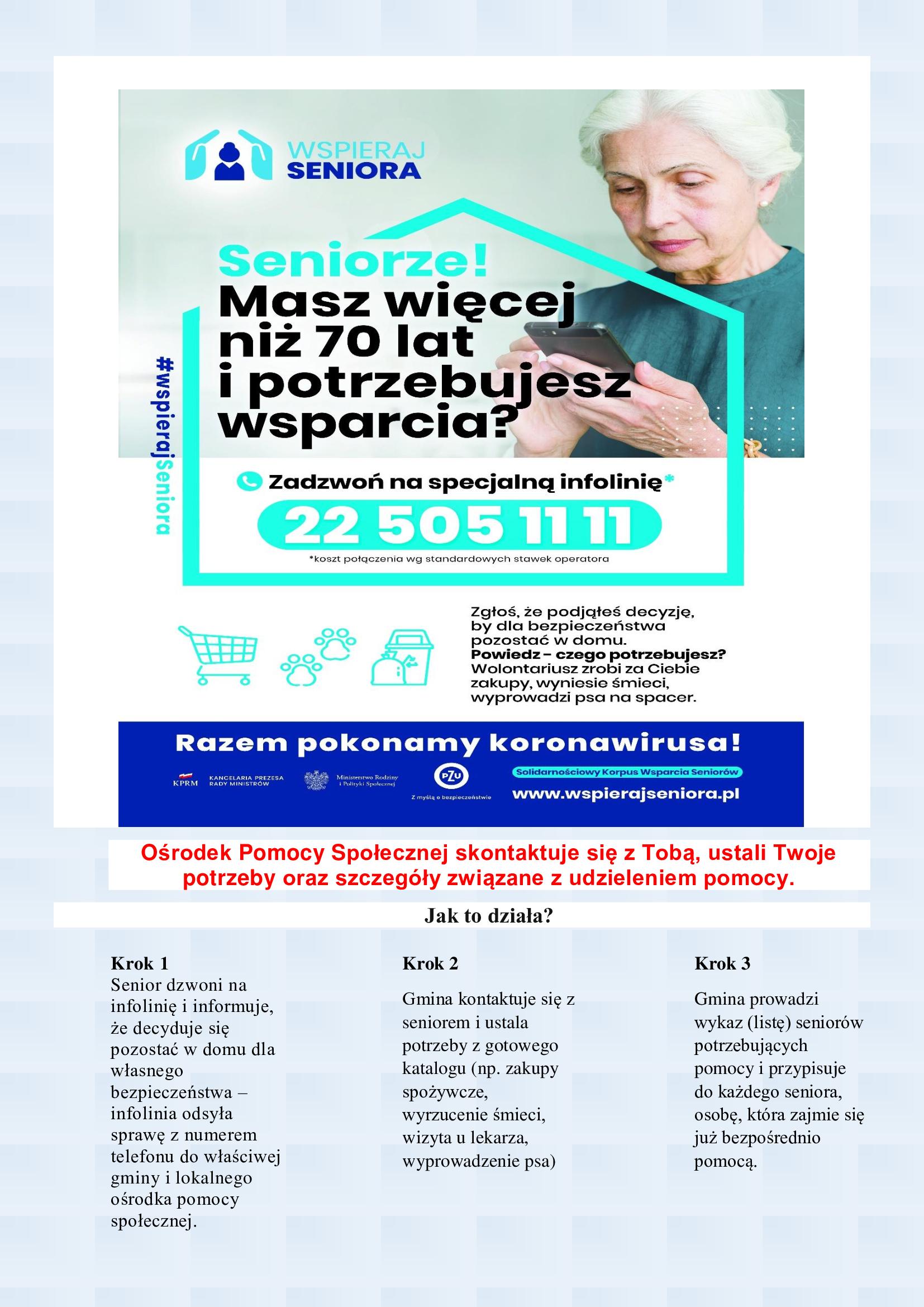 """Program """"Wspieraj Seniora"""", Gminny Ośrodek Pomocy Społecznej w Łopusznie"""