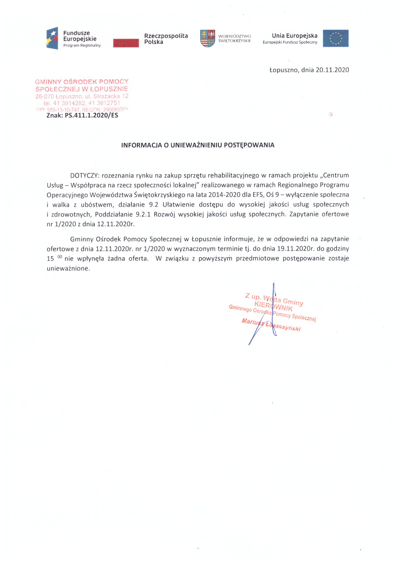 Informacja o unieważnieniu postępowania, Gminny Ośrodek Pomocy Społecznej w Łopusznie